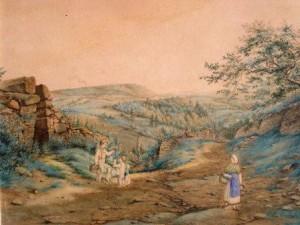 unbekannt-blick-in-eine-weite-bewaldete-landschaft-mit-weinbergen-und-personen-galerie