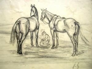 franz-eversheim-zwei-reitpferde-mit-kniendem-mann