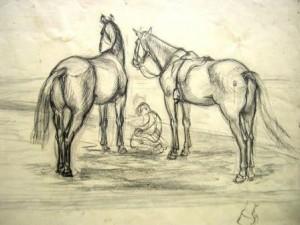 franz-eversheim-zwei-reitpferde-mit-kniendem-mann-galerie