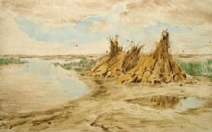 aladar-edvi-illes-aufgestellte-korngarben-in-weiter-landschaft