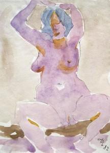 rudolf-scheibe-sitzender-weiblicher-akt-mit-erhobenen-armen
