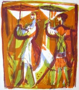 Walter Becker: Zwei Frauen mit Schirmen