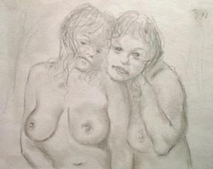 Rudolf Scheibe: Zwei aneinander geschmiegte nackte Frauen (Galerie)