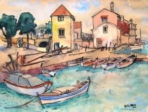 Willy Menz: Wohl Ansicht eines kleinen Hafens in Jugoslawien