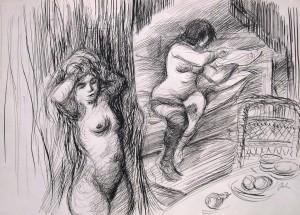 Harry Behr: Zwei nackte Prostituierte beim Zurechtmachen