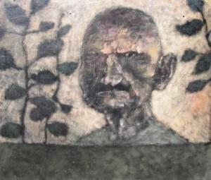 Helmut Diekmann: Düsteres Männerporträt mit Pflanzen (Galerie)