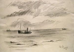 Manfred Steinhardt: Schiff vor der Küste bei Ramsey (Camp Mooragh)