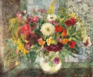 Käthe Schmitz-Imhoff: Üppiges Blumenstillleben vor einem Fenster