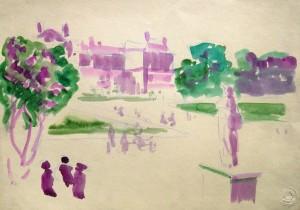 Harry Behr: Stadtansicht mit Park und Personen