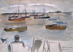 Manfred Steinhardt (zugeschr.): Wohl englische Hafenansicht mit Schiffen und zwei Männern in Liegestühlen (galerie)