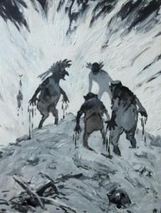 Arpad Schmidhammer: Darstellung von vier dämonenhaften Männern mit bluttriefenden Händen auf einem Hügel (Galerie)
