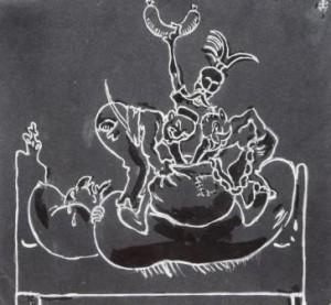Arpad Schmidhammer: Humoristische Darstellung dreier Männer (Galerie)