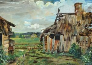 Unbekannt: Wohl osteuropäische Landschaft mit Bauernhäusern