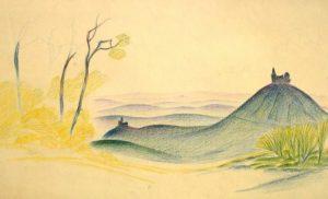 Karl Steffin: mythisch-phantastische Gebirgslandschaft mit Kirche (Galerie)