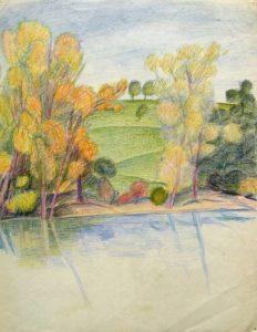 Karl Steffin: Uferlandschaft mit Bäumen und Wiese (Galerie)