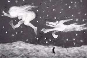 Wanderer in nächtlicher Landschaft mit zwei phantastischen, dämonenhaften Wesen (Galerie)