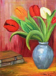 Wilhelm von Hillern-Flinsch: Stillleben mit Tulpen
