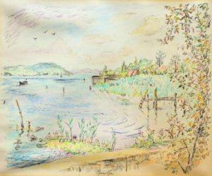 Erwin Schweitzer: Sommerliche Seelandschaft, u.U. Itzelberger See bei Königsbronn? (Galerie)