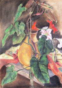 hellmut-steinebach-stillleben-mit-vasen-und-lilien-auf-einem-tisch