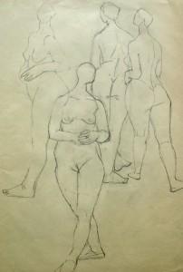 maria-hassenpflug-vier-stehende-weibliche-aktstudien