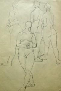 maria-hassenpflug-vier-stehende-weibliche-aktstudien-galerie