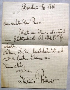 Brief von Julius Prüwer an Otto Röse