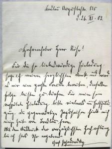 Brief eines Grafen Posadowsky an Otto Röse