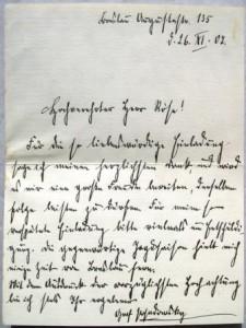 Brief eines Grafen Posadowsky an Otto Röse (Galerie)
