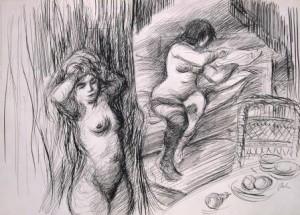Harry Behr: Zwei nackte Prostituierte beim Zurechtmachen (Galerie)