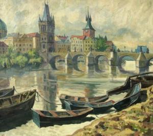 Willy Menz: Blick auf die Altstadt von Prag mit Karlsbrücke