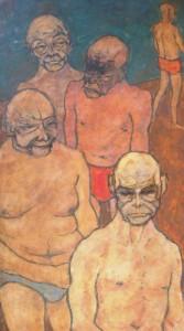 Helmut Diekmann: Gruppe von fünf fratzenhaften Männern in Unterhosen