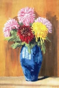 Hans Pape: Strauß mit fünf Dahlien in einer blauen Vase (Galerie)