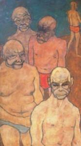 Helmut Diekmann: Gruppe von fünf fratzenhaften Männern in Unterhosen (Galerie)