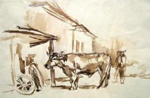 Wolfgang von Websky: (wohl) Schmiede in Steingaden mit Rind und zwei Personen (Galerie)