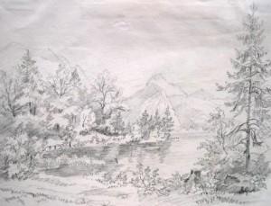 Unbekannt: Wohl bayerische Landschaft mit See und zwei Personen in einem Boot (galerie)