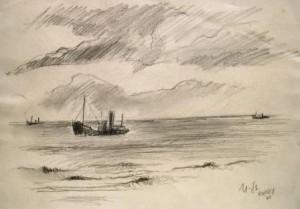 Manfred Steinhardt: Schiff vor der Küste bei Ramsey (Camp Mooragh) (Galerie)