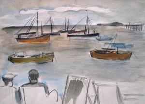 Manfred Steinhardt (zugeschr.): Wohl englische Hafenansicht mit Schiffen und zwei Männern in Liegestühlen