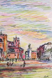 Harry Behr: Blick auf einen großen Platz in einer Stadt