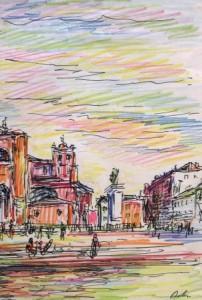 Harry Behr: Blick auf einen großen Platz in einer Stadt (galerie)