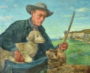Curt Witte: wohl Schäfer mit Lamm und Hund auf Rügen