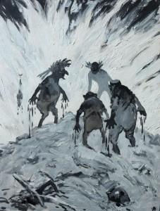 Arpad Schmidhammer: Darstellung von vier dämonenhaften Männern mit bluttriefenden Händen auf einem Hügel