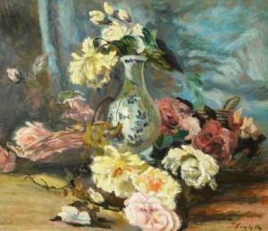 Paul Segieth: Stillleben mit Rosen und Vase