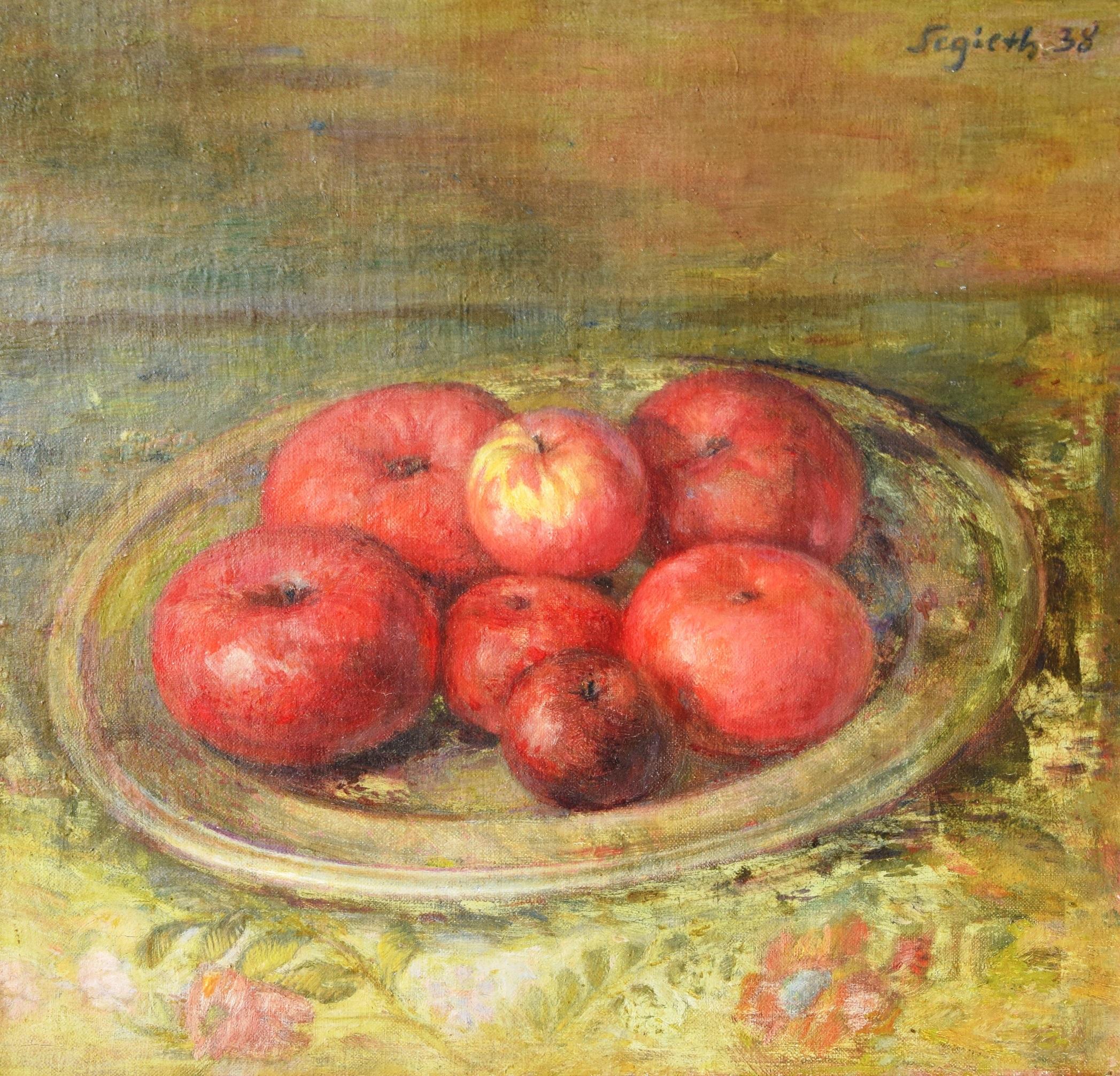 Paul Segieth: Stillleben mit einer Schale Äpfel auf einem Tisch (Großbild)