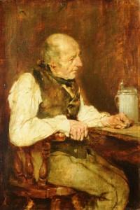 Max Gaisser: Wirtshaus-Interieur mit einem älteren Mann an einem Tisch sitzend