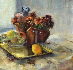 Margarete Frühling: Stillleben mit Obst, Blumen und Getränken