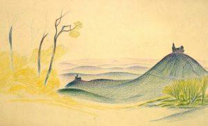 Karl Steffin: mythisch-phantastische Gebirgslandschaft mit Kirche