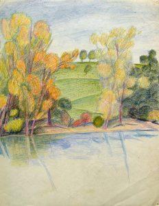 Karl Steffin: Uferlandschaft mit Bäumen und Wiese