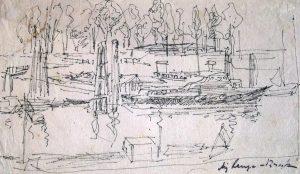 August LANGE-BROCK: Norddeutsche Landschaft mit Booten