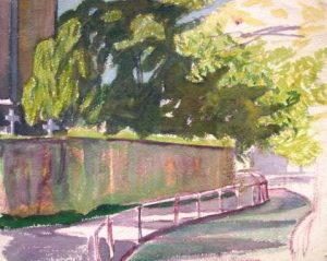 Karl Steffin: Sommerlicher Weg mit Friedhof (Galerie)
