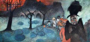 """Helmut Diekmann: """"Landschaft mit Figuren""""; alptraumhaft morbider Kinderlaternenzug vor brennender Stadtkulisse (Galerie)"""